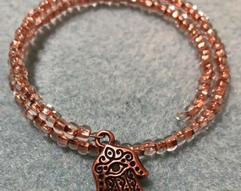Memory wire Copper beads bracelet