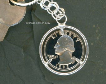 25th Anniversary Gift 25th Birthday Gift 1993 Quarter Silver Keychain Money Keychain 1993 Quarter Keychain