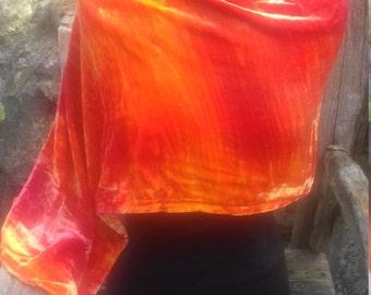 Hand dyed Silk Velvet Scarf