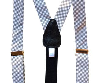 Grey Gingham Suspenders