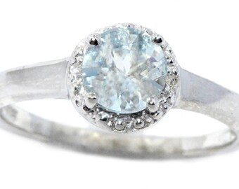 1 Ct Aquamarine & Diamond Round Ring .925 Sterling Silver