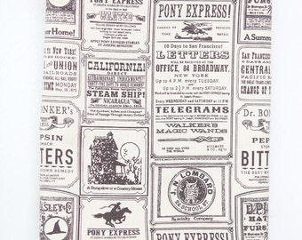 Vintage Lettering Oxford Cotton Fabric - Gray - By the Yard 94018