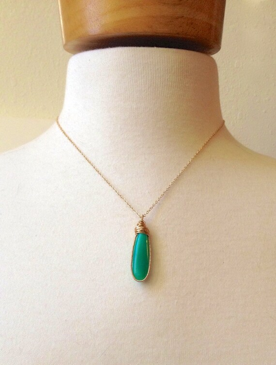 Chrysoprase Necklace Green Pendant 14K Gold Wire Wrapped Hand Coiled Encased Set Stone Natural Stone/ Mint Green  Heart Chakra Necklace