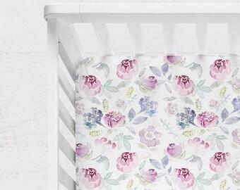 FLORAL CRIB BEDDING. Rose Flowers Baby Sheet. Floral Baby Blanket. Purple Crib Sheet. Purple baby blanket. Peonies baby bedding.