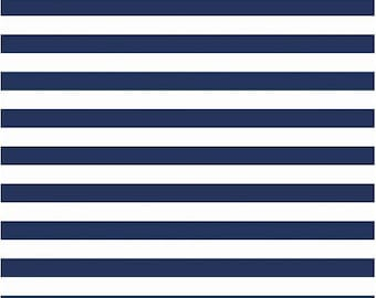 Blue Stripe Fabric - Half Inch Stripes Riley Blake Designs c530 21 Navy - Navy Blue Cotton Fabric Cotton by the Yard - Navy Blue and White