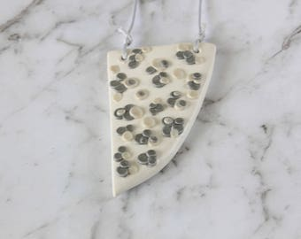 White Necklace, Silver Pendant Necklace, Silver Polymer Necklace, Silver Polymer Clay, Beaded Necklace, Neutral Patterned Necklace