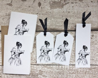 Literary Cards, Gift Tags and Bookmark - Gift Set for Book Lovers, Depicting a Lady Reading. Gift for Bookworm.