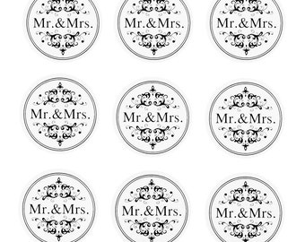 Mr & Mrs Wedding Foil Seal Stickers, 1-Inch, 24-count