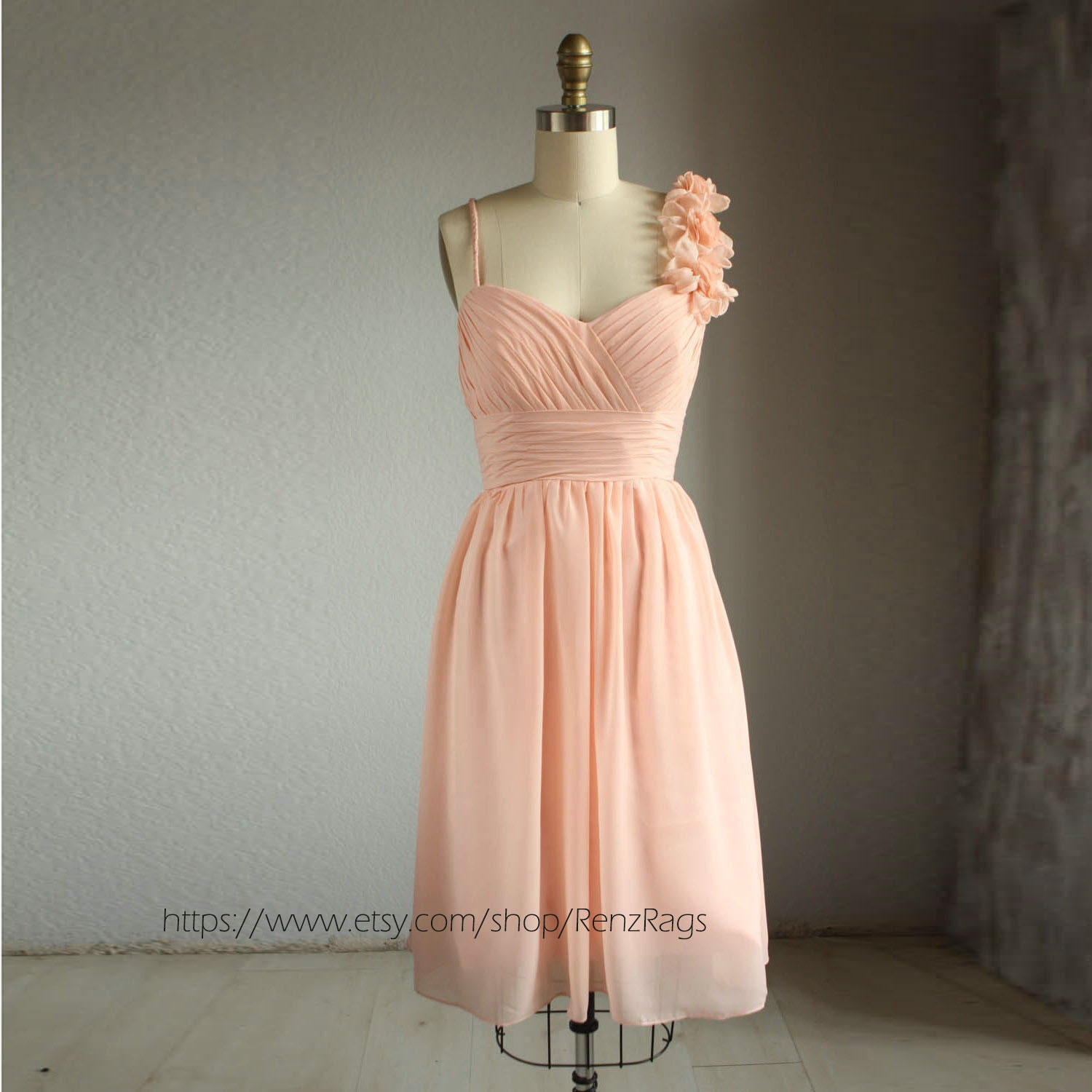 Bridesmaid Dress Peach Chiffon DressWedding DressHandmade