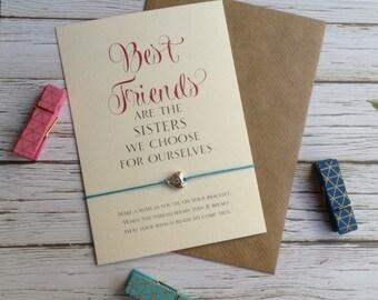 Best Friends Friendship Bracelet, Wish Bracelet,Friend bracelet, Best Friends Gift, Birthday Card for Friend,  Sterling Silver Friend Gift,