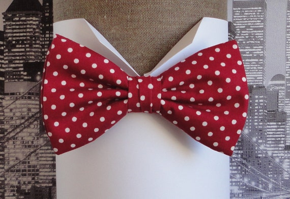 Cerise, white spots, pre tied or self tie bow tie, bow tie for men, men's bow tie