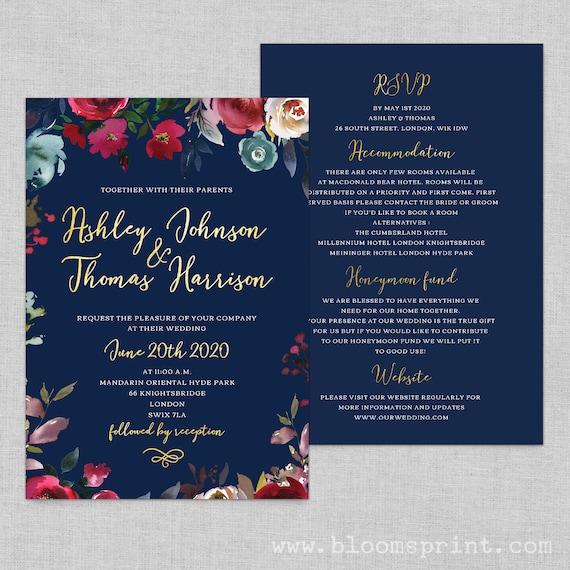 Marsala wedding invitation template, Wedding invitations navy and gold, Navy gold wedding invitation, Wedding invites printable,  A5