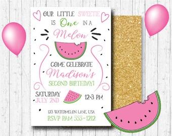 Watermelon Birthday Invitation - One In A Melon Party Invitation - Watermelon Birthday - PRINTABLE - Watermelon Party - Summer Party Invite
