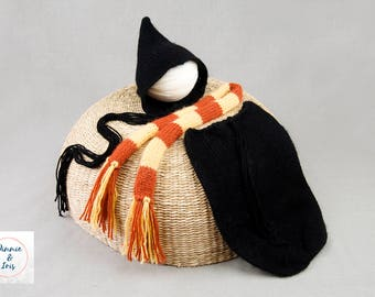 Newborn wizard set, Halloween, knitted snuggle sack, pixie bonnet and striped scarf, RTS, photography prop, 1 available, UK seller