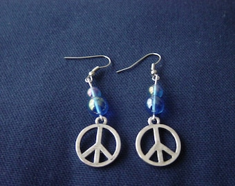 Peace and Love the blue iridescent earrings