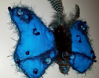 Turquoise  Moth textile soft sculpture , plush, stuffed , OOAK