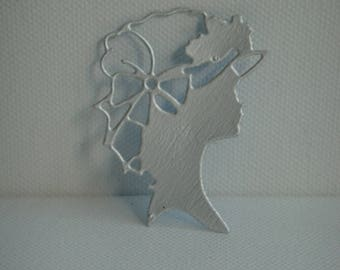 Cut 100% recycled female figure in milk for scrapbooking or card box
