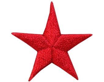 ID 3464C Red Star Patch Night Sky Symbol Craft Embroidered Iron On Applique