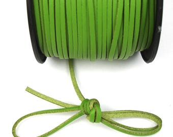Green 3 mm leather cord / 1 mm X 1 meter