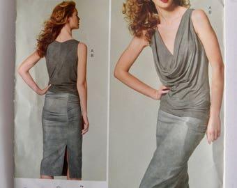 Vogue V1282 Donna Karan Collection Misses Top and Skirt Size 12-20 UNCUT