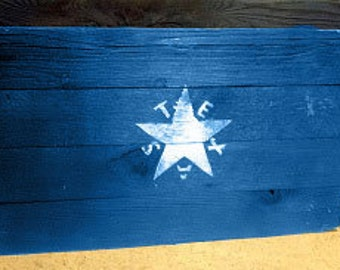Rustic Barnwood Republic of Texas Flag