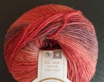 Rainbow Wool Yarn - Color 3,  50g