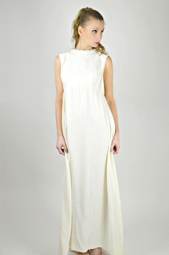Vintage Bridal Dress 1960s White Long Dress 1960s Formal
