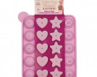 Silicone Cake Pop Cake Mould Baking Set 20 Lollipop Sticks Hearts Stars Tray