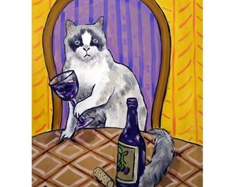 cat art - Rag Doll Cat at the Wine Bar Picture Art Print, cat gifts, gift