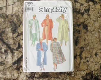 1986 Uncut Vintage Simplicity Pattern 7899 Misses Vest Loose-Fitting Unlined Duster-Coat in Two Lengths Size 14-16