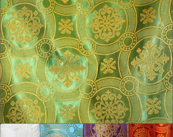 """Vestment Rayon Material EXTRA WIDE 79"""" (2 meters) cross, circle, snowflake pattern Red, green, purple, gold, blue other colors"""