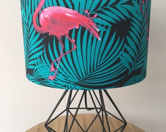 Tropical Flamingo Fabric Drum Lampshade 30cm Diameter