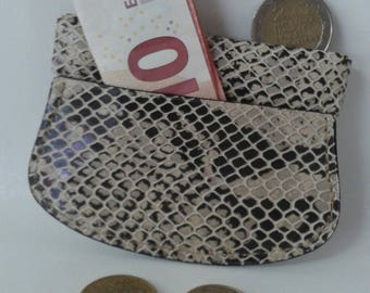 Wallet Click Clack two-tone grey and black Python leather
