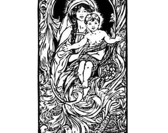 MADONNA and CHILD unmounted Christmas rubber stamp, religious holiday, Catholic, Sweet Grass Stamps No.13