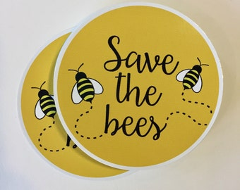 save the bees round bumper sticker or laptop decal
