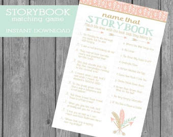 INSTANT DOWNLOAD, Name that Storybook Baby Shower Game, Adventure, Arrows, Pink, Gold, Mint,  game, baby shower games, children's book