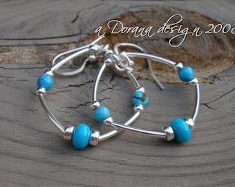 MARESAR Collection - Sterling Silver, RARE Sleeping Beauty Rondelles &Turquoise Hoop Earrings - Ocean Beach Wedding Handmade by Dorana