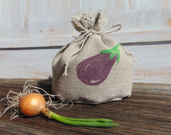 Small food storage bag Kitchen Natural linen Fabric Reusable Gift bag Bread Favor Grocery Veggie Eggplant