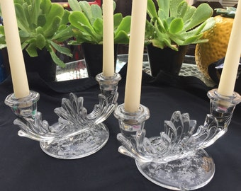 Fostoria etched glass double candle holders