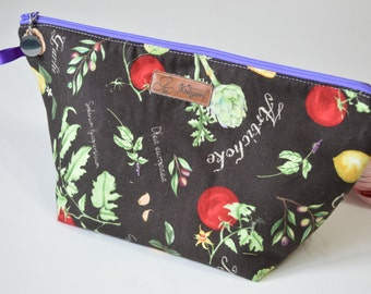 Wide Project Bag, Zipper Pouch, cosmetic pouch, padded pouch, zip pouch, project pouch, wedge pouch,  knitting bag, crochet bag