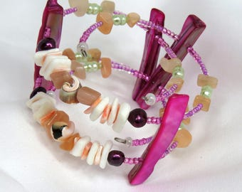 Mermaid's Delight -Double strand Pink Mother-of-Pearl, Purple Pearl, shell, and Peach Aventurine