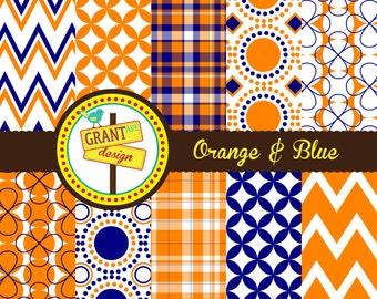 Orange & Blue Digital Papers - Backgrounds for Invitations, Card Design, Scrapbooking, and Web Design