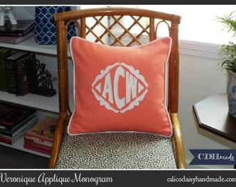 The Veronique Applique Monogrammed Pillow Cover - 12 x 12 square