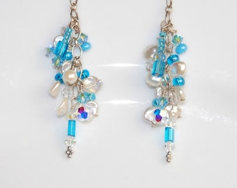 ON SALE, Pearl and Crystal Earrings, Blue and White Earrings, Wire Wrapped, Cascading Dangle Earrings