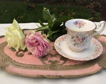 "Royal Albert Bone China ""Serenity"" teacup and saucer, Vintage teacup and saucer, Afternoon teaparty"