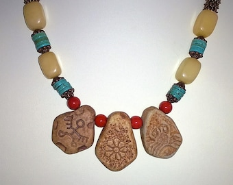 Red Jasper, Calcite, Clay and Turquoise Necklace and Earrings