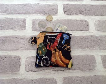 Horse riding theme coin purse, horse lover, horse coin purse, show jumping, birthday gift, gift for girls, Christmas gift, teacher gift