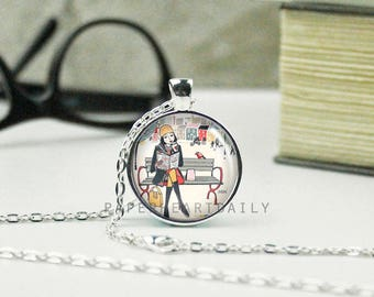 Book Art Pendant - Book Jewelry - Bookworm for Her - Jewelry for Reader - Book Lover Necklace - Book Gift - Girl Reading - (B7489)