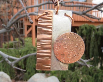 Copper Sterling Silver Mixed Metal Pendant, Silversmith Pendant, Metalsmith Pendant, Coppersmith Pendant