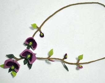Puple   Crochet Necklace, Lavender Necklace, Plum Necklace Statement Necklace Floral Necklace,Burgundary Necklace,Lilac bib,plum bib